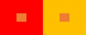 色味によって違いがわかる色相対比の画像