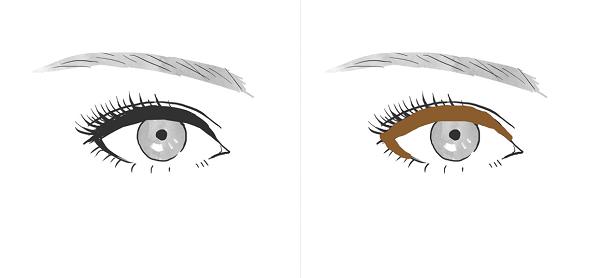 ブラウンのアイライナーは目が大きく見える例