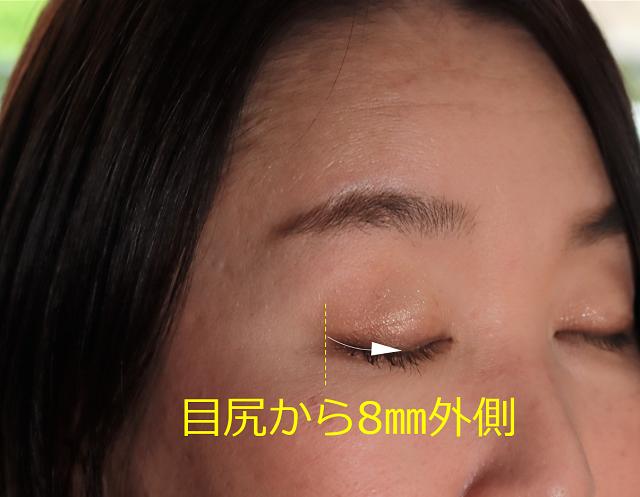 目尻の8㎜外側から目の中央につける